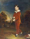Young Boy In a Red Suit, Holding a Bow and Arrow