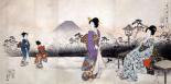 Japonaises en promenade devant le mont Fuji
