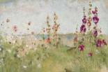Hollyhocks by the Sea