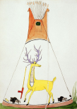 Teepee With Large Yellow Deer and Small Buffalo