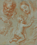 Studies of the Madonna and Child and of Heads (recto); Madonna and Child with Saint John Seated in a