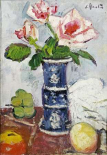 Pink Roses In a Chinese Blue and White Gu-Shaped Vase