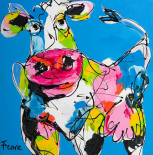 Colourful art cow
