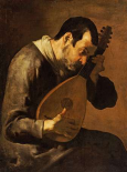 The Sense of Hearing; a Man Playing a Mandolin
