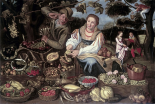 A Fruit Cuisine and Vegetable Cuisine Stall in an Orchard