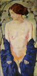 Standing Nude with Blue Robe
