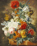 Tulips, An Opium Poppy, Hyacinths, Anemones, Auricolas, Convolvuli