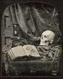 Still Life with Skull, Open Book with Glasses, and Hourglass