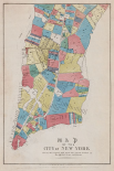 Map of the City of New York showing original high water line and the location of different Farms and