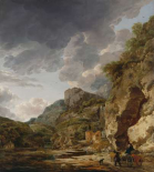 Mountain Landscape with River and Wagon