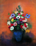 Anemones And Lilac In A Blue Vase