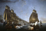 Combat Between The French and English Fleets As Viewed From Goudelour