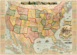 American Union Railroad Map Of The United States, 1871