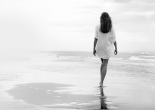 Walking on a White Beach
