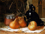 Onions, a Jug and a Ceramic Pot On a Tablecloth